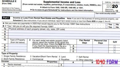 2020 - 2021 Schedule E Supplemental Income or Loss